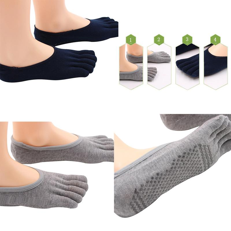 Yoga Socks Sports Fitness Shallow Mouth Socks Instep Five Toes Socks Ladies With Silicone Non Slip Sole Combed Breathable Cotton