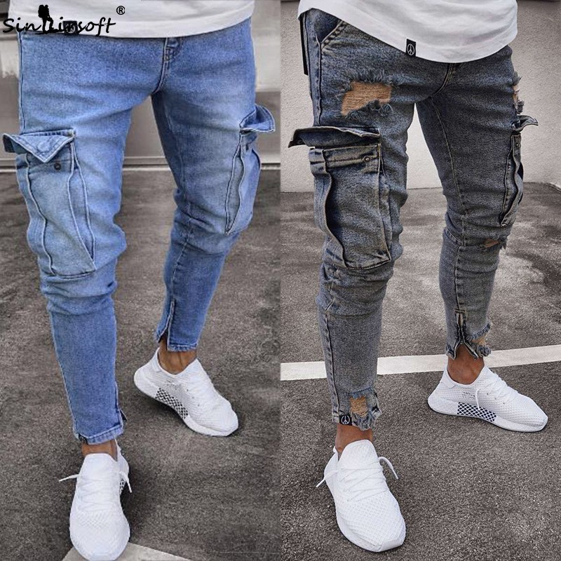 Jogging New Zipper Stretch Hole Denim Mens Ripped   Jeans   Slim Feet Street Skateboard Blue Classic Casual Pants S-3XL