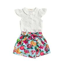 765698baef84 2019 Baby Girl summer clothing set Floral Outfits Clothes T-shirt Tops  Shorts for Kid