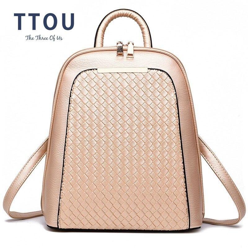 TTOU Pu Leather Women Backpack Teenage Girls Fashion School Bagpack Mochila Female Casual Travel Backpacks Weave Backpack