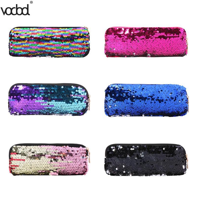 weiß Hch-diy Doppel Farbe Pailletten Glitter Handtasche Bleistift Fall Tasche Make-up Tasche Abendtaschen