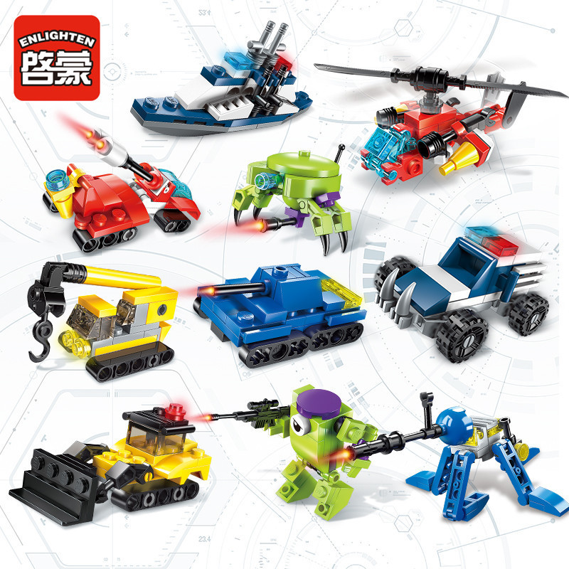 10PCS Super Deformation Engineering Team Building Blocks Bricks Model Kids Childrens Toys Gift in Stacking Blocks from Toys Hobbies