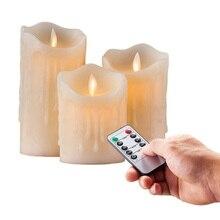 סט של 3 מהבהב Flameless עמוד LED נר נשלט מרחוק טיימר נע ריקוד המומס edge חתונת חג המולד המפלגה אמבר