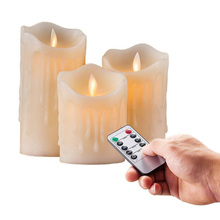 set of 3 Flickering Flameless Pillar LED Candle Remote controlled timer Moving Dancing  melted edge Wedding Xmas Party Amber