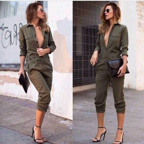 Hirigin Women Casual Solid Pockets Romper Jumpsuits Outfits Playsuit Trousers Tops Holiday