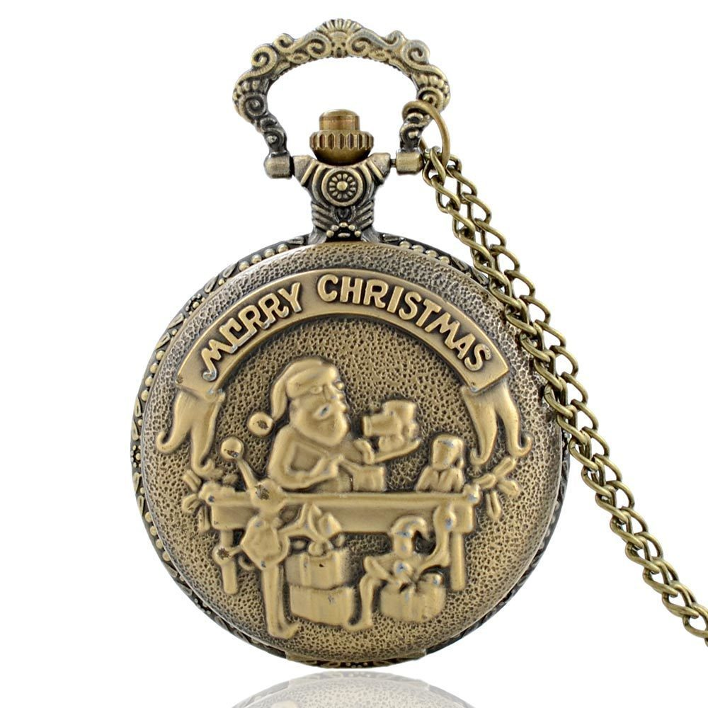 Merry Christmas Theme Full Hunter Quartz Engraved Fob Retro Pendant Pocket Watch Chain Gift