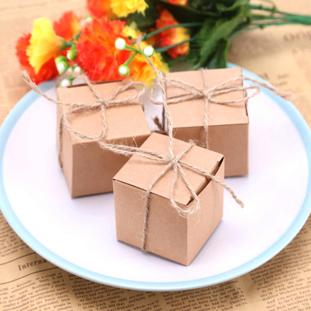50 PCS Gift Box Rustic Wedding Decoration Candy Packaging Box Cartons Chocolate Party Wedding Gifts For Guests
