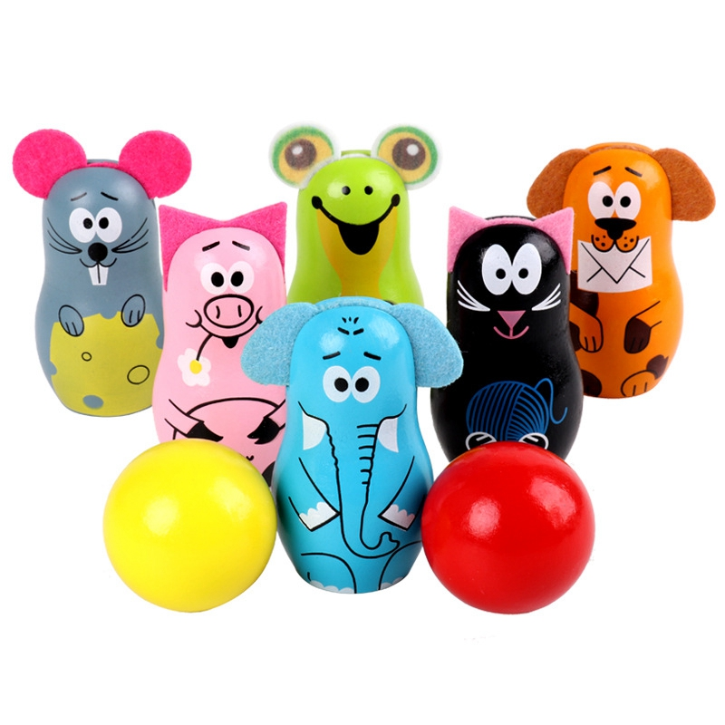 FBIL-Wooden Cartoon Animal Bowling Children Early Education Educational Toys