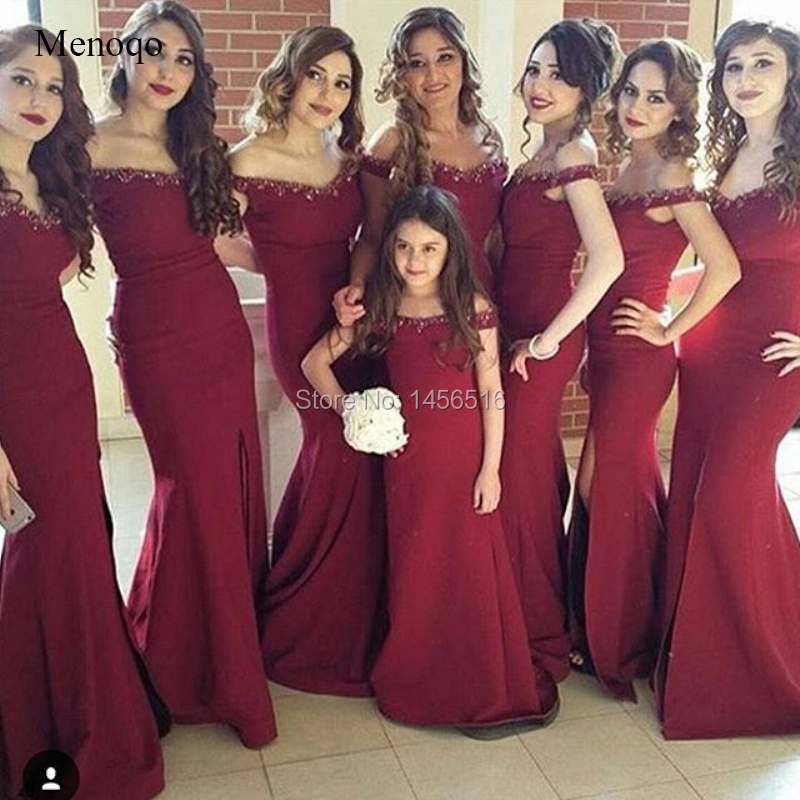 Burgundy 2019 Cheap Bridesmaid Dresses Mermaid V-neck Off The Shoulder Beaded Long Wedding Party Dresses