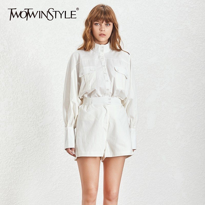 TWOTWINSTYLE Solid Casual Two Piece Set Women Turtleneck Lantern Sleeve Button Shirt High Waist Slim Shorts
