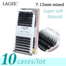LAGEE 10Cases/Lot premium glossy black eyelash extension 7~15mm mixed lengths classic handmade individual mink false lashes