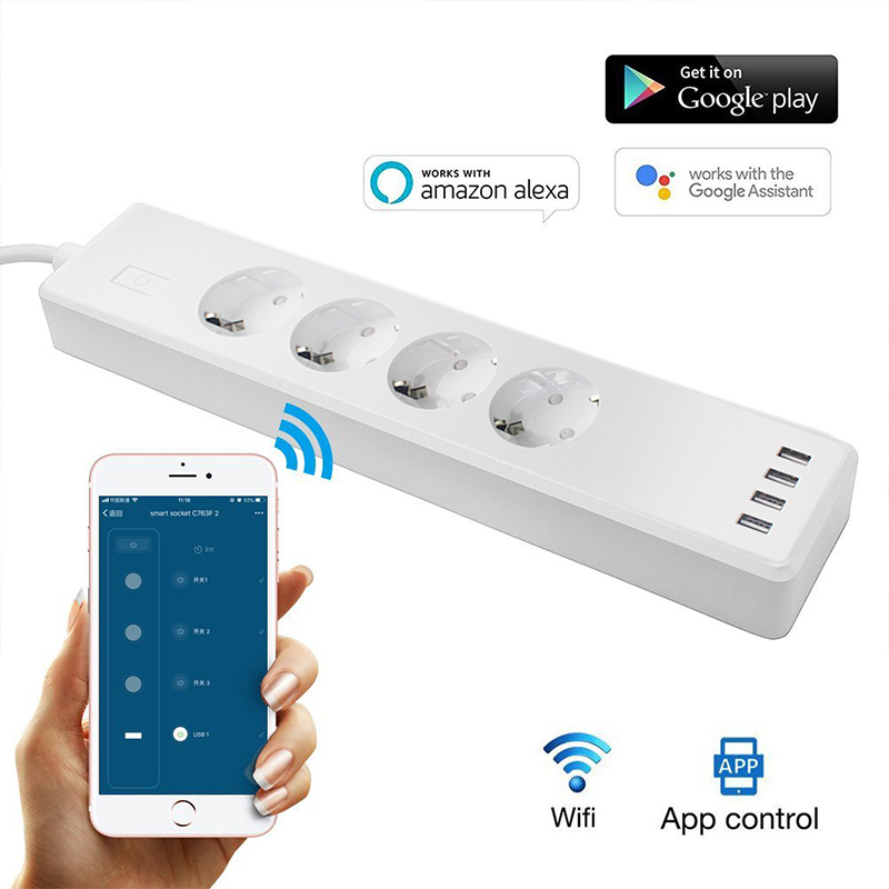 New Arrival RSH EU WiFi Power Strip,Surge Protector with 4 USB and 3 Smart Plug, Compatible with Alexa/Google