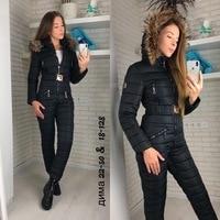 winter jacket women outdoor one piece female warm ski suit jumpsuit long sleeve big fur parka winter coat women