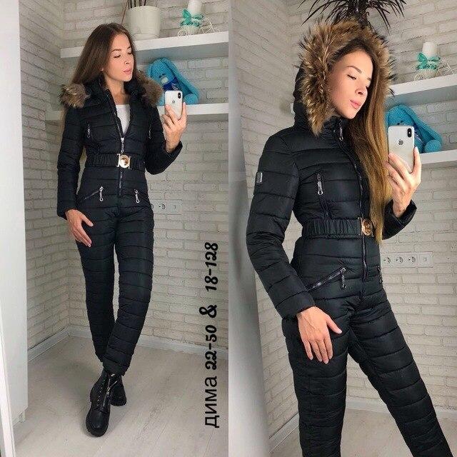 7b622527cab7 winter jacket women outdoor one-piece female warm ski suit jumpsuit long  sleeve big fur parka winter coat women