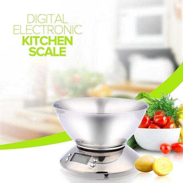 Balance de Cuisine en acier inoxydable 5 kg/1g Balance électronique Cuisine Balance alimentaire Cuisine Balance numérique de précision avec bol outil de cuisson 5