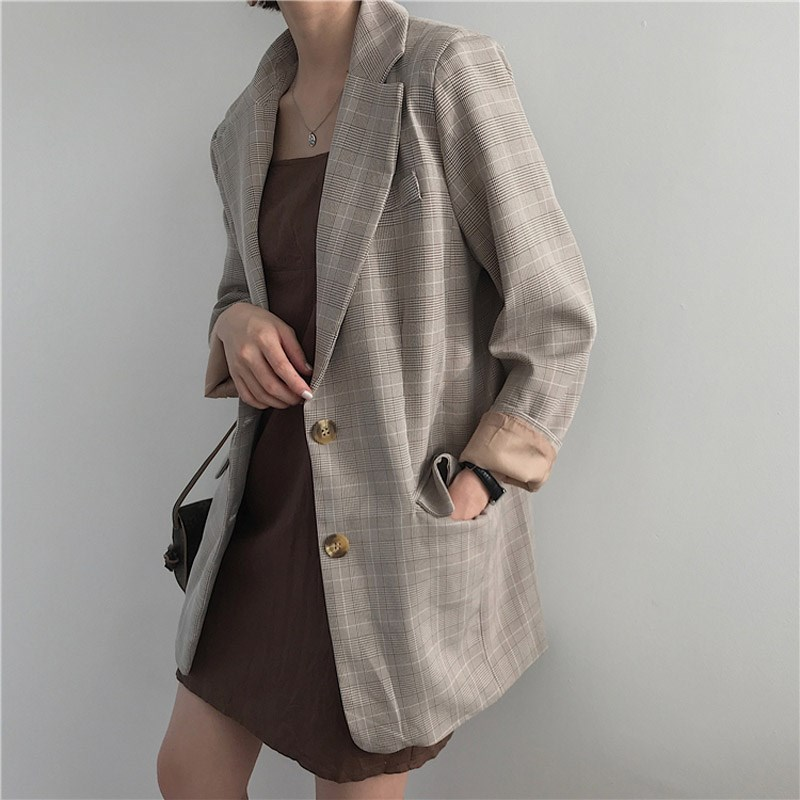 Spring Casual Single Breasted Plaid Blazer Women Jacket Vintage Female Suit Loose Office Workwear Outerwear