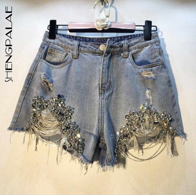 SHENGPALAE 2019 Summer Spring European High Quality Diamond Beads Chain High Waist Holes Cowboy Fashion Shorts Woman FN167