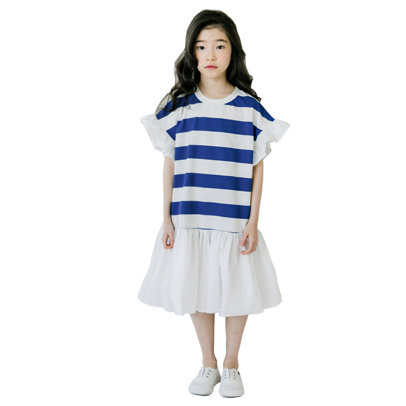 navy blue striped long-dress age for 6 - 16 yrs teenage girls summer clothes casual loose dress girls school style ruffle frocksnavy blue striped long-dress age for 6 - 16 yrs teenage girls summer clothes casual loose dress girls school style ruffle frocks