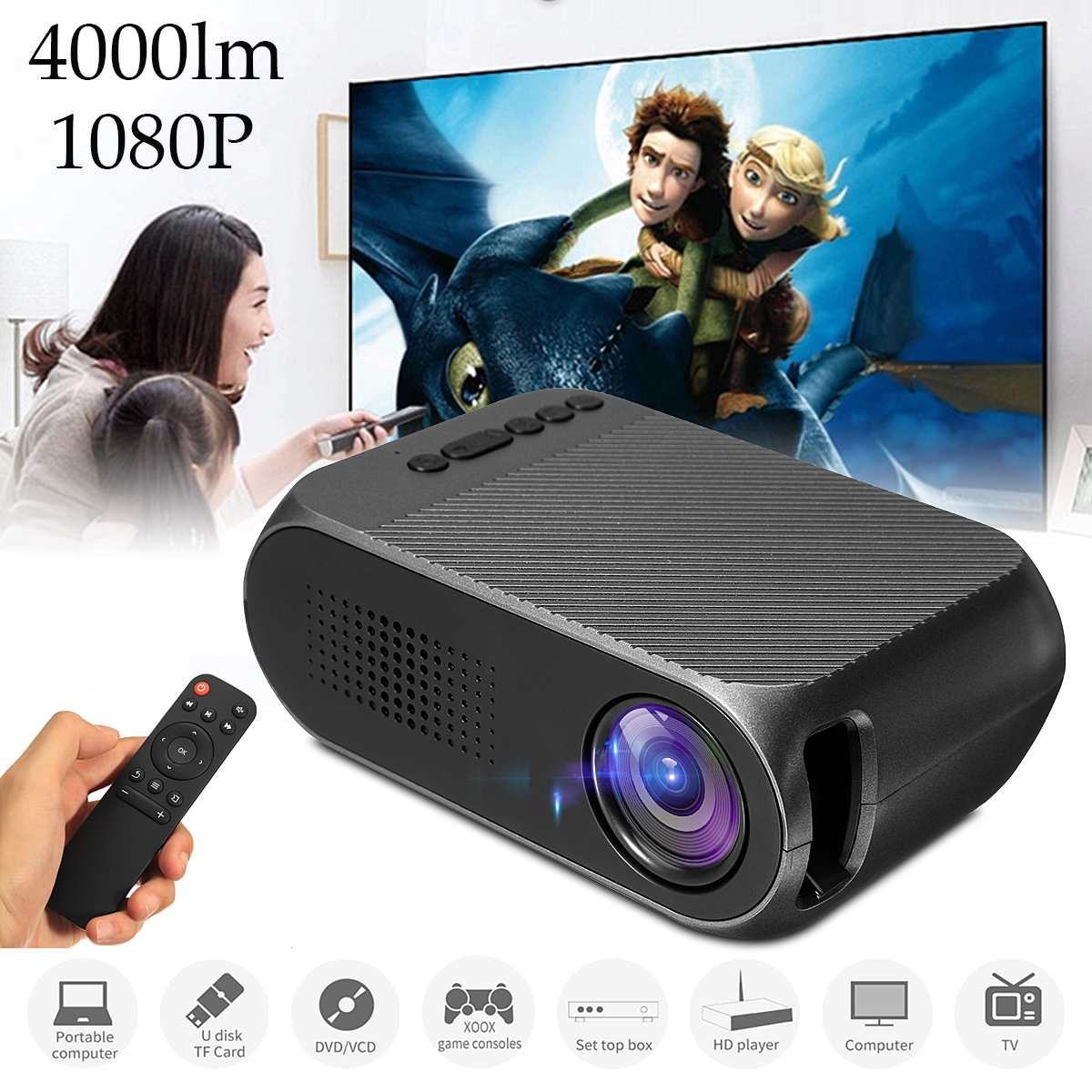 Multi-media Home Cinema Theater LED HD 1080p 3000 hours Mini Projector mini 7000 Lumens HDMI Multimedia Beamer Projector BlackMulti-media Home Cinema Theater LED HD 1080p 3000 hours Mini Projector mini 7000 Lumens HDMI Multimedia Beamer Projector Black
