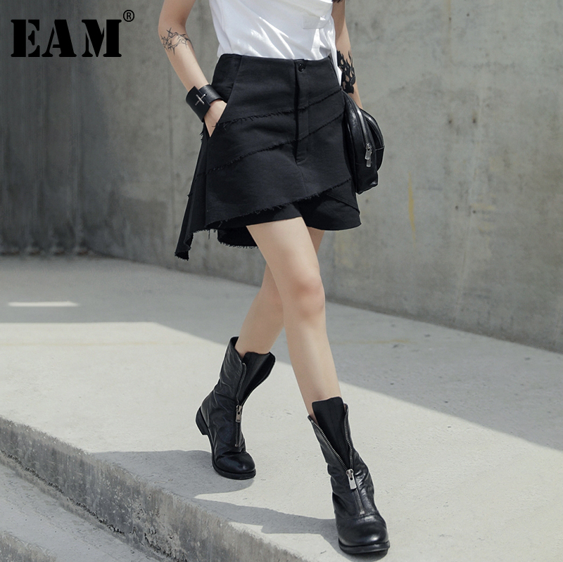 [EAM] 2020 New Spring Autumn High Waist Black Layers Irregular Split Joint Loose Pants Women Trousers Fashion Tide JU438