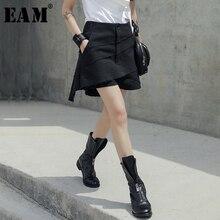 EAM pantalon pour femme, ample, taille haute noir, nouvelle collection printemps automne, tendance JU438, irrégulier fendue