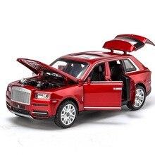 1/32 литые под давлением модели автомобилей из сплава Rolls Royce Cullinan металлическая модель звуковой светильник оттягивающий назад внедорожник для детей 7 открывающихся дверей игрушки для мальчика