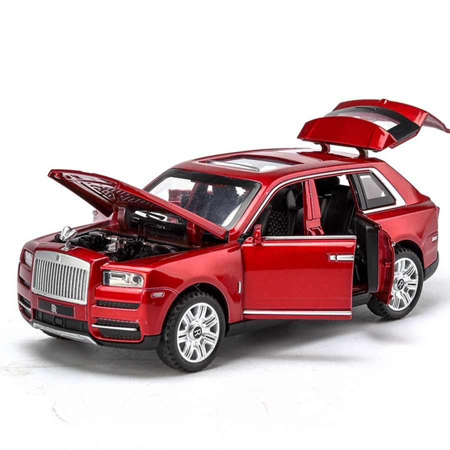 1/32 Diecast Alloy Cars Models Rolls Royce Cullinan Metal Model Sound Light Pull Back SUV For Kids 7 Doors Opened Toys For Boys