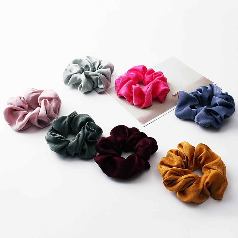 Новое поступление модные женские красивые атласные резинки для волос яркого цвета резинки для волос для девушек аксессуары для волос конский хвост держатель