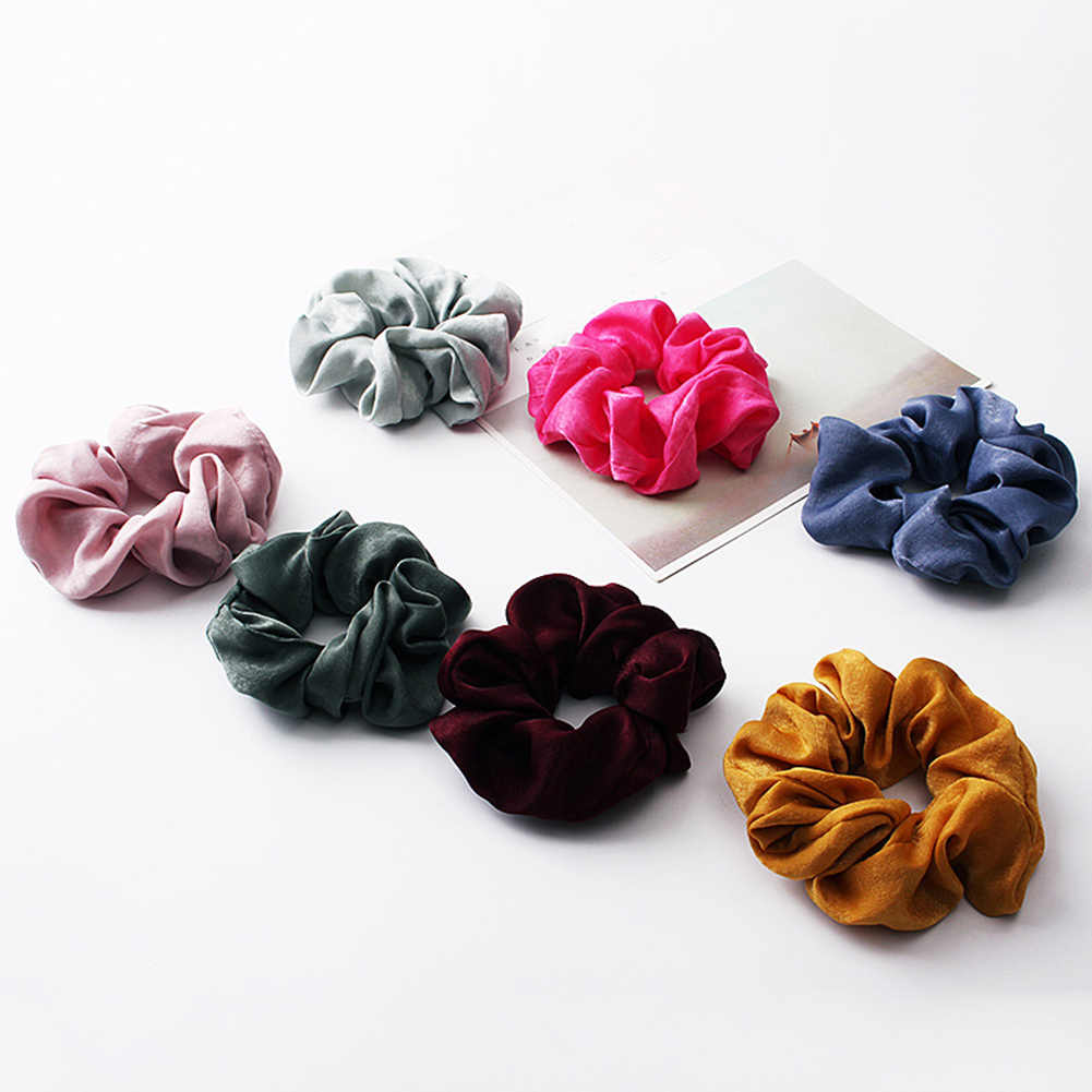 2019 New arrival Fashion women lovely satin Hair bands bright color hair scrunchies girl's hair Tie Accessories Ponytail Holder