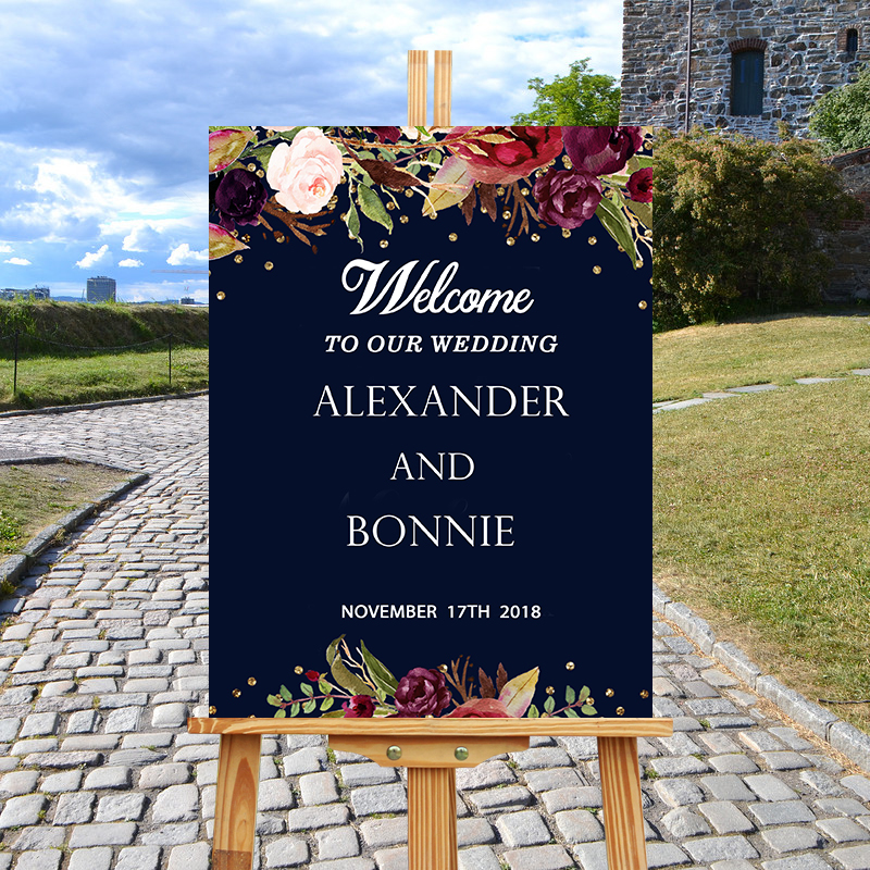Wedding Welcome Sign.Us 20 39 15 Off Rustic Navy Wedding Welcome Sign Printable Marsala Floral Wood Welcome Wedding Sign Welcome To Our Wedding Sign Wedding Signage In