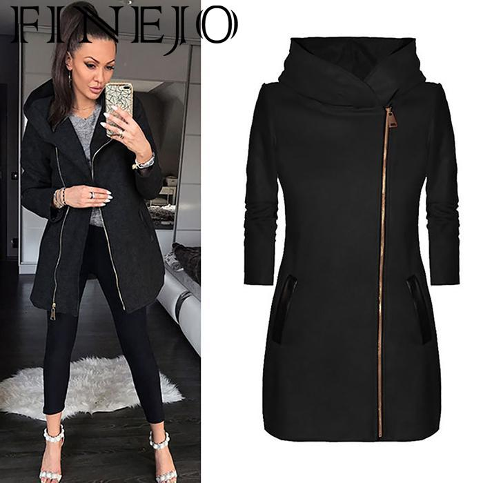 FINEJO New Fashion Women Casual Hooded Oblique Zipper Pocket Long Sleeve Hip Length Solid Pocket Coat Outwear in Trench from Women 39 s Clothing