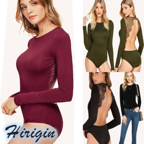 Women Clohes 2019 New Women Clothes Solid Color Long Sleeve Sexy Lace Backless Stretch Bodysuit Top Blouse