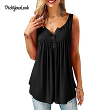 Pickyourlook Female Tunic Top Summer Sleeveless Casual Women Blouses Solid Button V Neck Femme Blusas Camicette Clothing