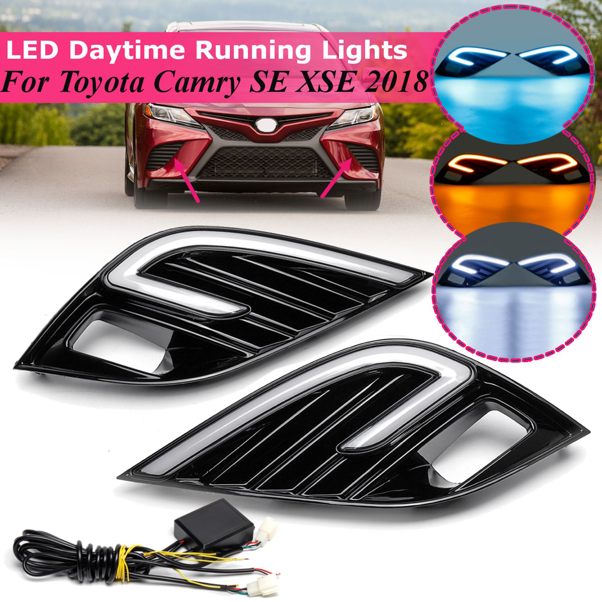 1Pair Car Front LED Fog Light for Toyota Camry SE XSE 2018 Lamp DIY DRL 12v Daytime Running Light Replacement White Yellow Blue
