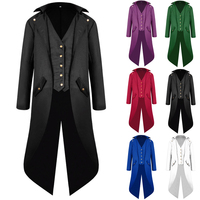 Medieval Men Jacket Coat Tailcoat Steampunk Gothic Victorian Frock Coat Uniform Knight Vintage Men Trench Coat Cosplay Costumes