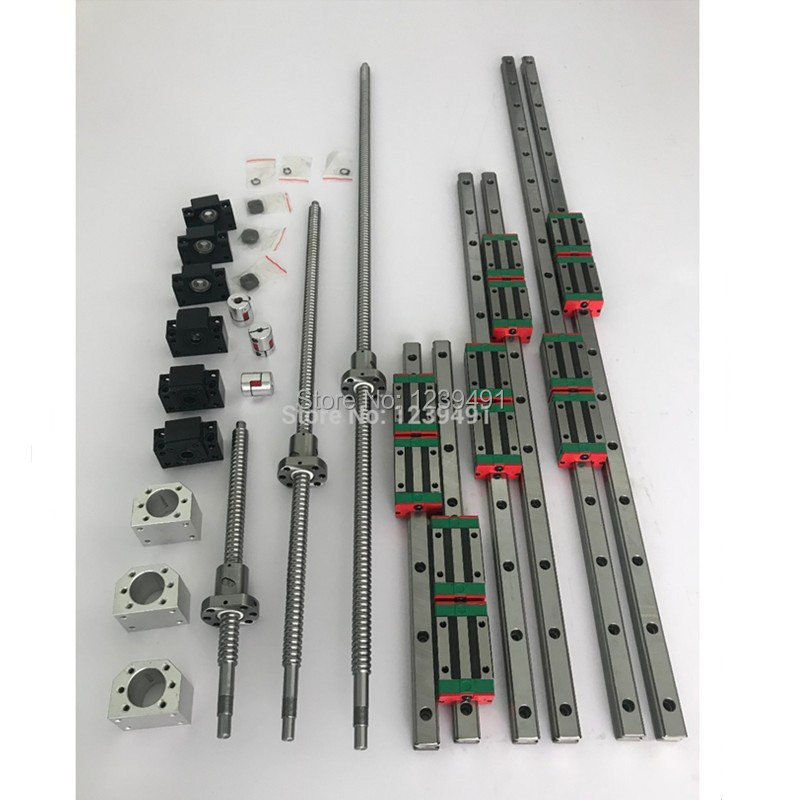 6 sets HGR20 - 500/1500/2500mm linear guide rail + SFU1605 ballscrew +SFU2005+BK/BF12+BK/BF15+Coupling+Nut housing for cnc parts6 sets HGR20 - 500/1500/2500mm linear guide rail + SFU1605 ballscrew +SFU2005+BK/BF12+BK/BF15+Coupling+Nut housing for cnc parts