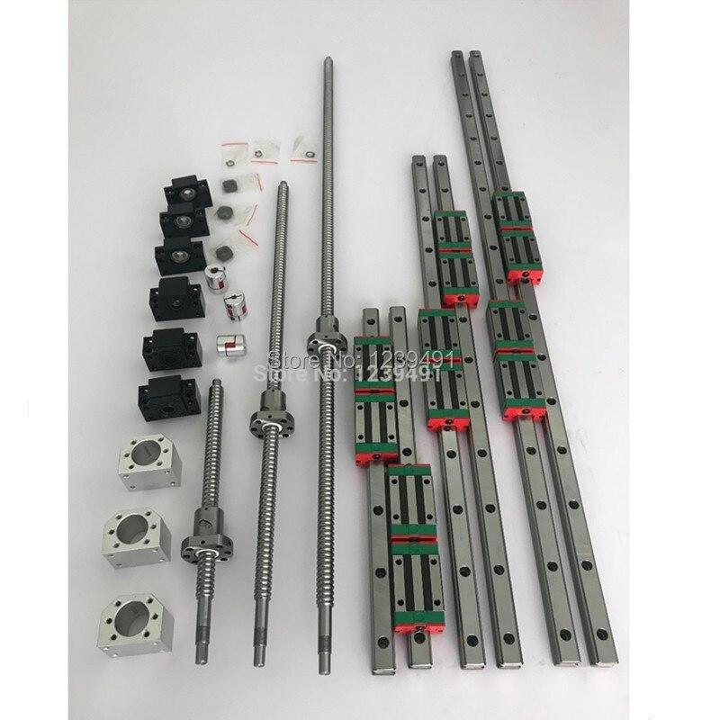 Conjuntos 6 HGR20-500/1500/2500 milímetros trilho de guia linear + SFU1605 ballscrew + SFU2005 + BK /BF12 + BK/BF15 + Acoplamento + Nut habitação para as peças do cnc