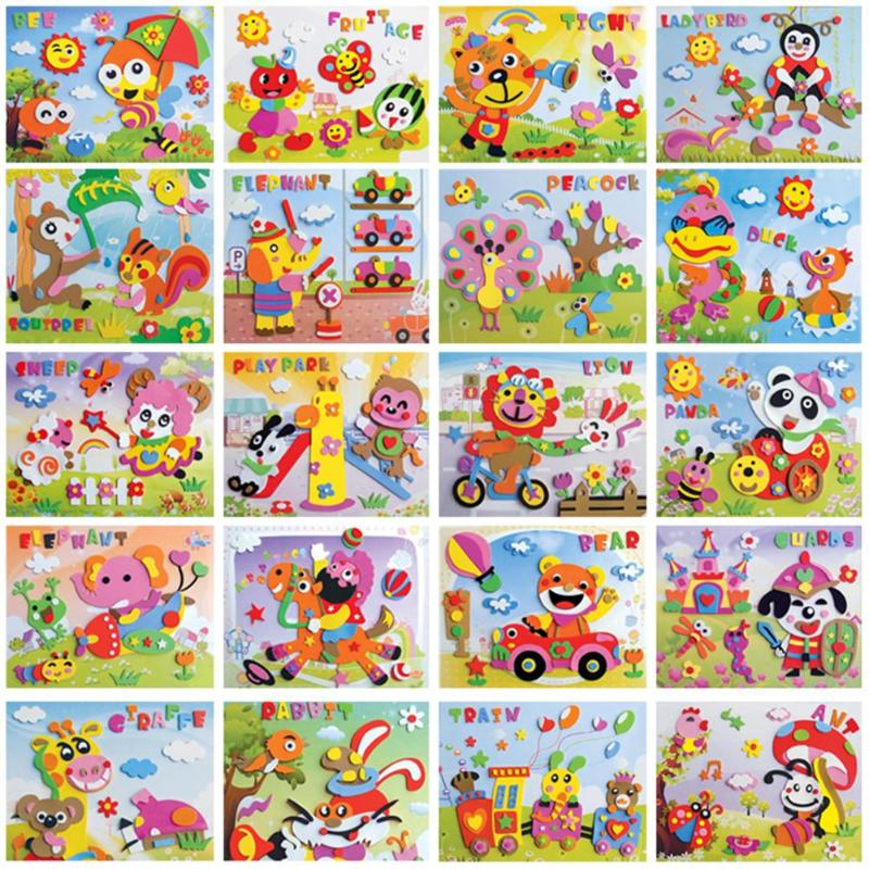 Kids Craft 3D EVA Foam Sticker Puzzle Game DIY Cartoon Animal Learning Education Toys For Children Kids