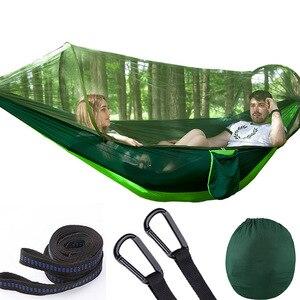 Image 1 - Hamaca de apertura rápida automática para acampar al aire libre, red antimosquitos, defensa Hamak, columpio, 2 personas