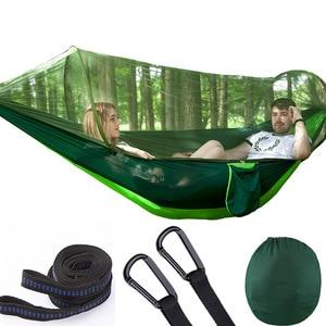 Image 1 - Pára quedas automático de abertura rápida rede ao ar livre acampamento mosquiteiro hamak defesa mosquito trazer balanço cadeira 2 pessoas