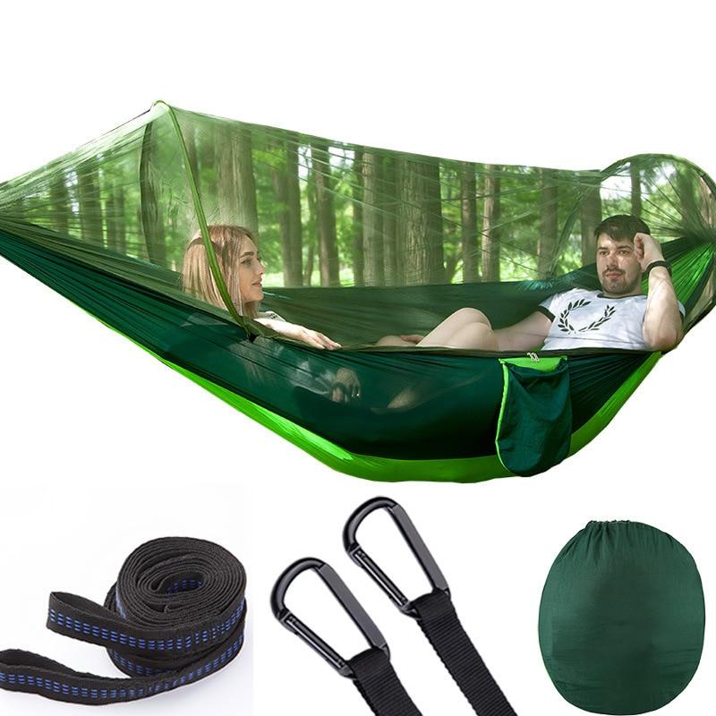 Parachute automatique ouverture rapide hamac extérieur Camp moustiquaire Hamak défense moustique apporter balancelle chaise 2 personnes