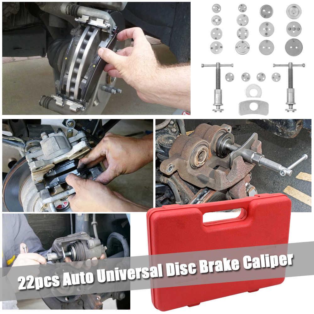 22 pièces Auto universel frein à disque étrier voiture vent arrière Pad Piston compresseur Automobile Garage réparation Kit d'outils ensemble avec étui