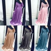 Women Dress Long Sleeve Muslim Elegant Lace Maxi Dresses Tulle Evening Party Dress