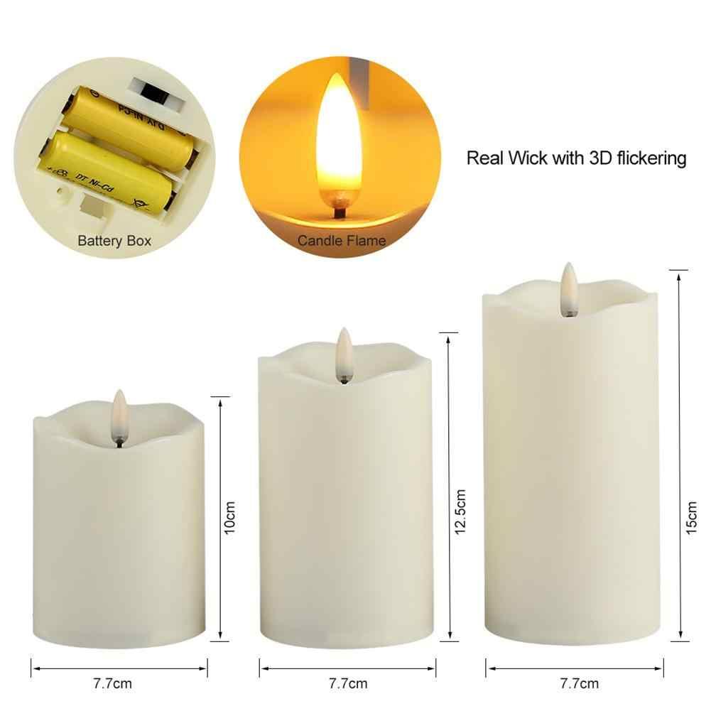 Lumi вечерние 3 шт./компл. беспламенная форма свечи лампа с пультом дистанционного управления Теплый желтый свет ночник домашнее украшение для вечеринки в день рождения