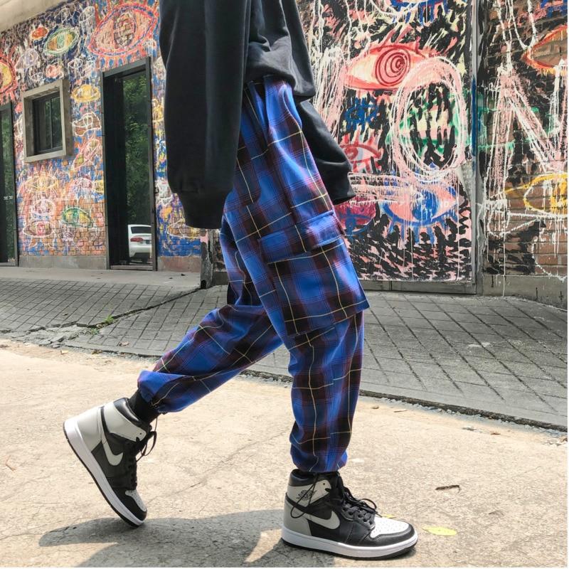 2018 Automne Et D'hiver Hommes de Plaid Coton Rayonnait Salopette Taille Basse Multi-poche Lâche Pantalon Décontracté Marée Bleu /blanc M-2XL
