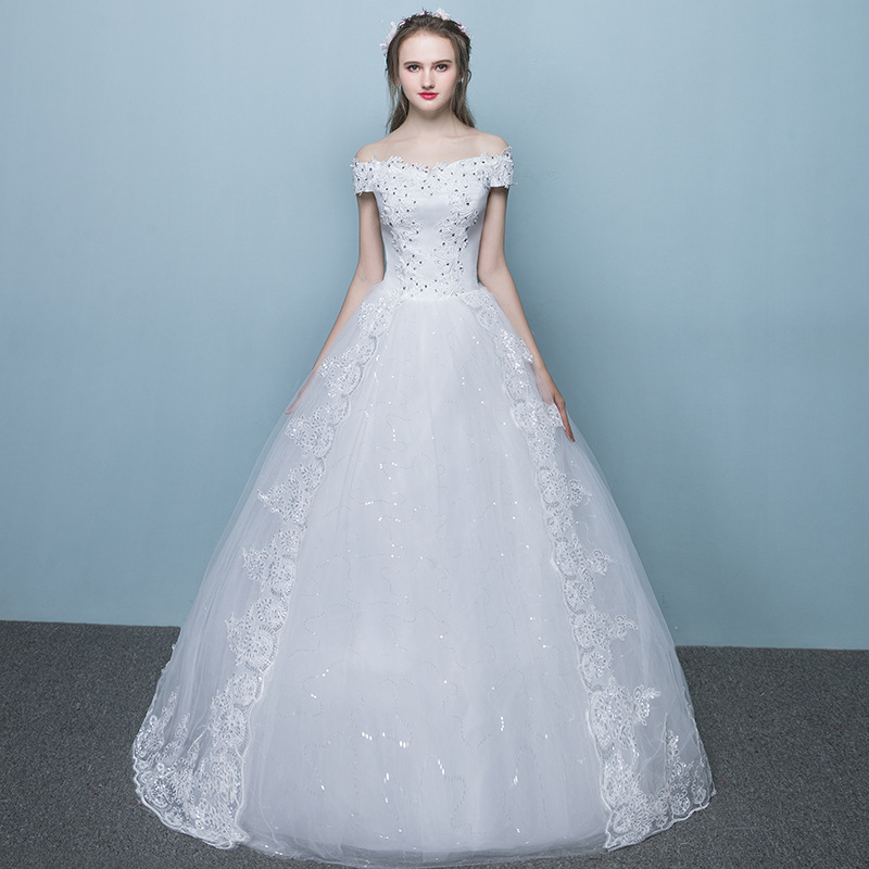 Cheap Off Shoulder Wedding Dress Elegant Lace Appliques Beading Lace Up Muslim Ball Gown Wedding Gowns