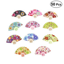 50 Pcs 30*18mm Wooden Buttons Mixed 2 Holes Fan Shape Random Painting Wood Button for Clothing Crafting Sewing DIY Scrapbooking(China)