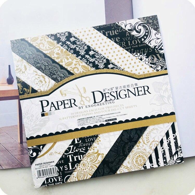 € 9.03 40% de DESCUENTO|36 hojasLote 8 pulgadas Vintage negro oro Floral patrón creativo Papercraft arte papel hecho a mano Scrapbooking Kit Set de