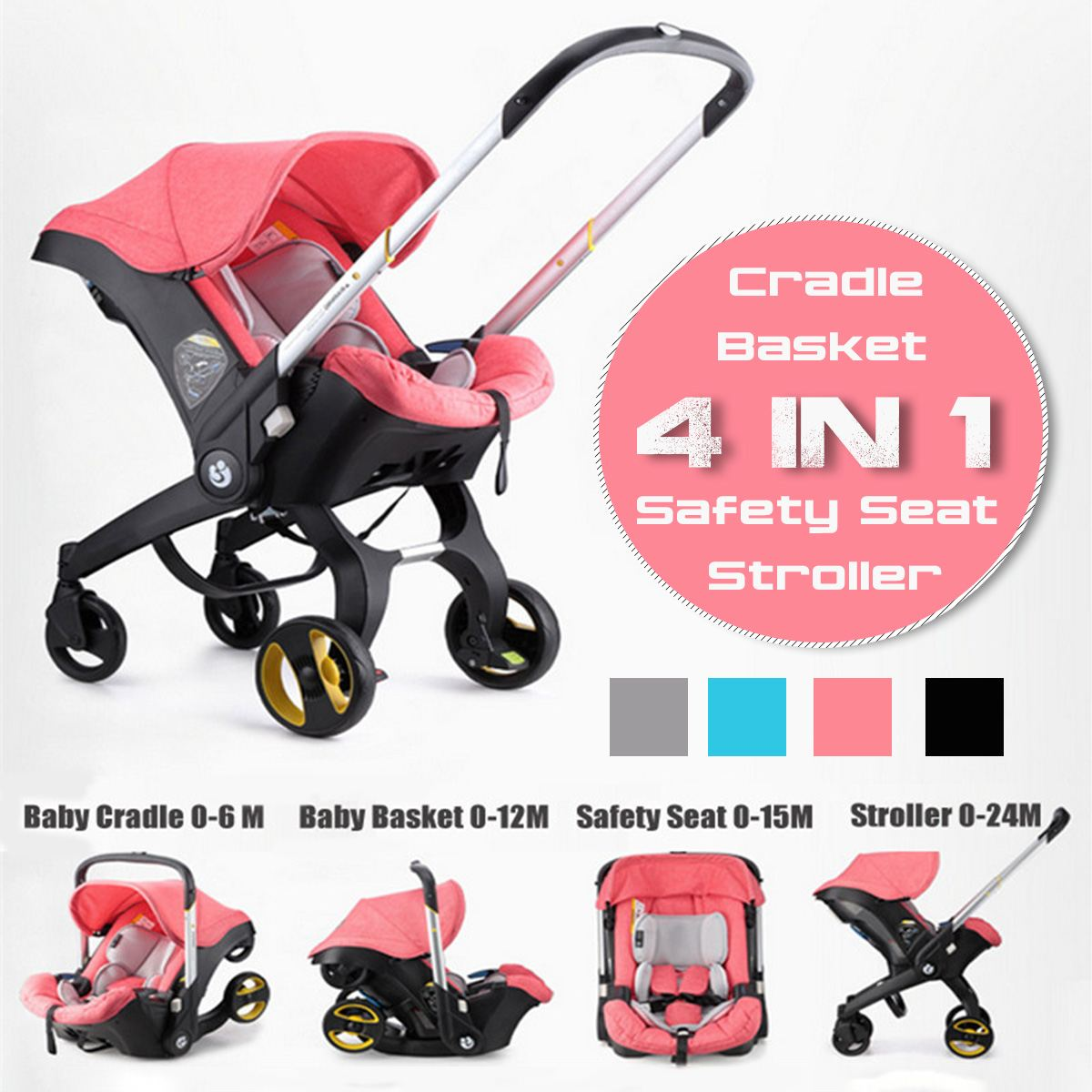 4 IN 1 Car Seat Stroller Baby Carriage Basket Portable Travel System Stroller with Safety Seat for 0-3 Years baby