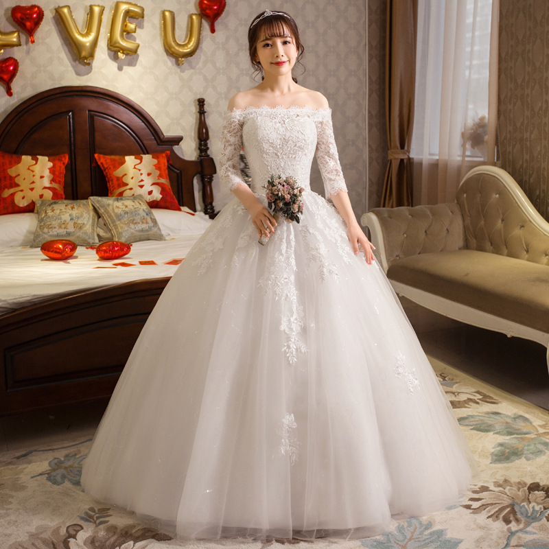 Ball-Gown Bride Dresses Tulle Appliques Gorgeous Long Lace Boat-Neck Elegant 3/4-Sleeve